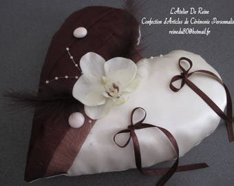 Chocolate Orchid heart ivory satin and organza wedding ring pillow