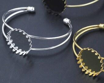Adjustable Imperial crown Brass Bracelet With 25mm Base Setting Pad,BRACELET Bezel Blanks - Bracelet Blanks-Cuff Bracelet Blank