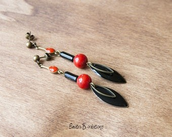 Red and black ethnic chic and timeless earrings