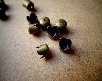10 tips attached cap for necklace, chain or cord metal bronze