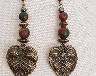 Bronze Pearl agate bead bronze metal hook Earrings from India
