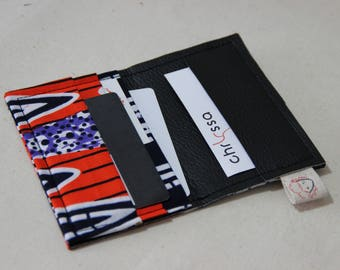 Card holder/African wax fabric and faux leather - Laterite