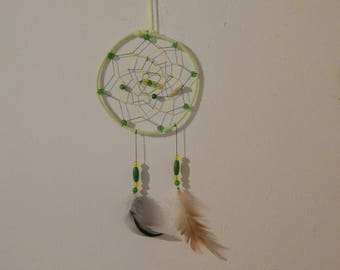 dream catcher 14 cm in diameter, in shades of yellow and green