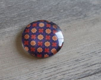 1 cabochon clear 25mm red and orange dots pattern