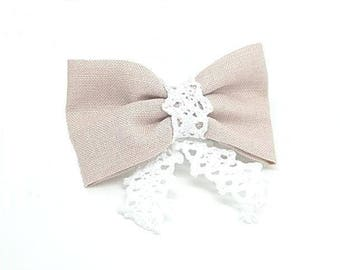 Linen and lace bow hair clip