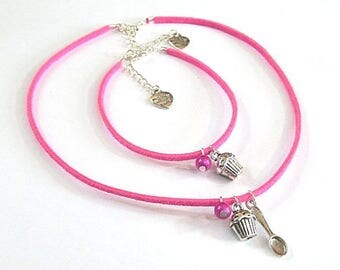 Set girl pink necklace and bracelet gourmet My sweet cupcake ° °