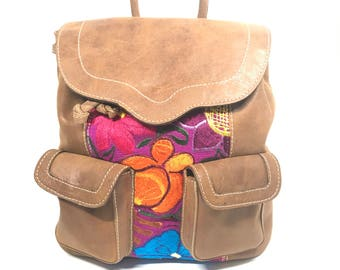 Leather and Hand Embroidered Bag-Pack