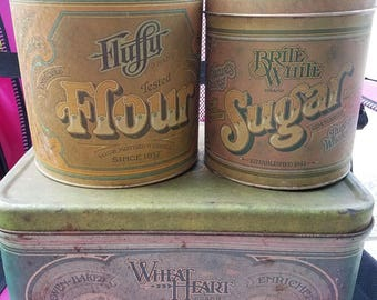 Vintage Tin Bread Box with Matching Canisters from the 1970's