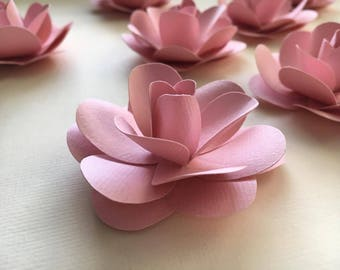 Pink Paper Flowers - Set of 5