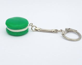 Green polymer clay macaroon key chain