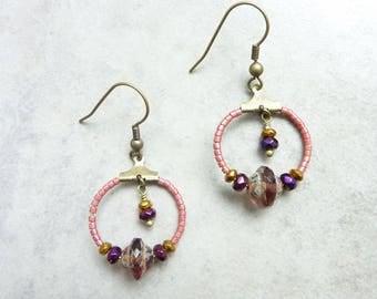Small hoop earrings Boreal purple