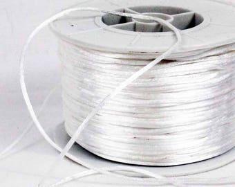 Nylon satin cord, white rat tail 1 mm x 100