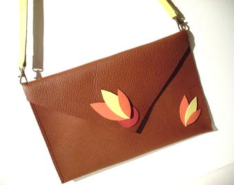 * Pink and yellow feather leather bag *.
