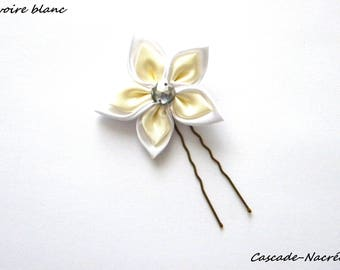 hair flower ivory white bridal satin silver Pearl wedding jewelry