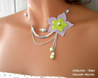 purple flower lime silk silver Pearl bridal necklace wedding Eden Green
