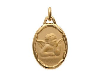 Medal oval Angel pendant 14 x 19 mm engraved personalize plated gold
