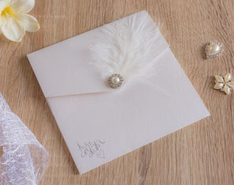 Handmade Pocketfold Wedding Invitations ClassicFeather&Pearl