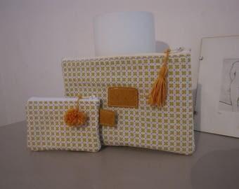 Set of mustard print kits / lined white felt