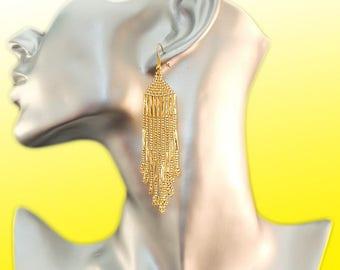 evening elegance peyote beaded earrings