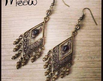 "Earring bronze ""Precious dark"""