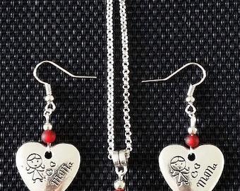 "Set Earrings + Necklace ""MOM"""