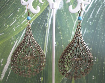 earring drop print bronze and turquoise bead