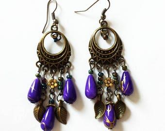 pendants earrings / purple and bronze charms