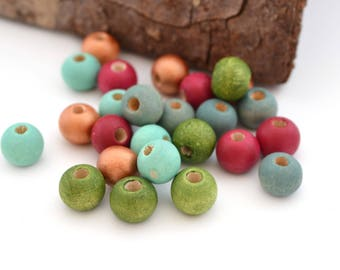 Mix of 25 beads, copper, green, mint, blue, cherry wood 8 mm round