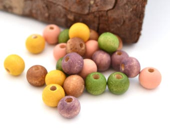 Mix of 25 green beads, peach, purple, yellow and Brown wood 8 mm round