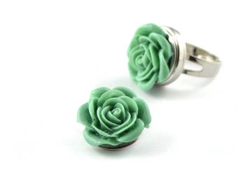 Snap snap charm 18mm Green Flower