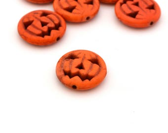 1 large bead Halloween Pumpkin orange 2cm