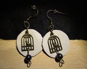 leather and brass charm earrings