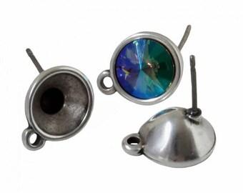 1 pair of earrings / silver bracket Swarovski SS39 Œil - in Metal Zamak - with - BOCAB17AG0550