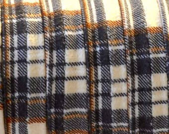Ribbon fabric Scottish, flat and doubled (12x1.5mm) - Beige - 20 cm
