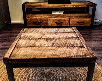 Old oak and steel coffee table