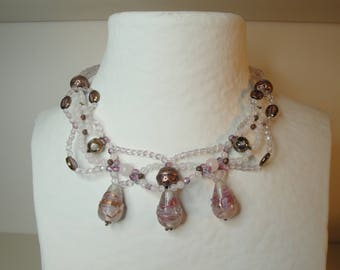 Evening necklace three strands woven