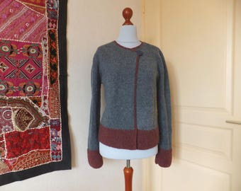 Alpaca and wool hand knitted crossover Cardigan