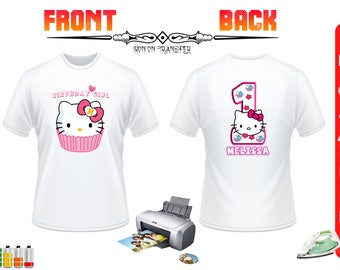 Hello Kitty Iron On Transfer, Hello Kitty Birthday Shirt Iron On Transfer, Front Back Design DIY Birthday Shirt, DIGITAL FILE