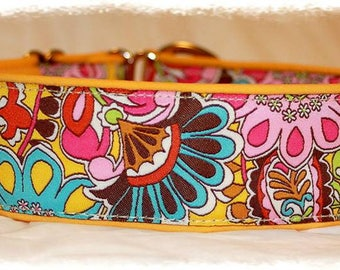 "Dog collar ""Jungle"" Jacquard ribbon in an unique colourful ""Cool"" style for Pet accessories Fashion"