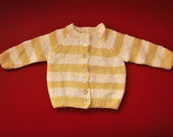 Hand Knitted Baby Cardigan / Sweater, Baby Boy, Baby Girl, Size – Newborn