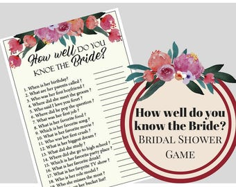 Floral How Well Do You Know The Bride Bridal Shower Game, Bachelorette Party Game, Printable Bachelorette Game, Hens Night Game, Party Game