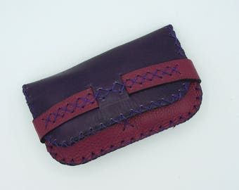 Tobacco leather plum and pink / Burgundy, original but understated, craft and practical for men or women