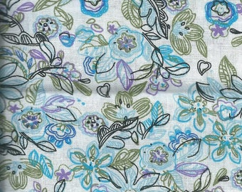 Cotton fabric with blue flowers