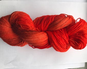 100 g hand-dyed sock yarn, color autumn fire