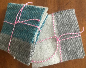 Handwoven felted coasters, set of 4