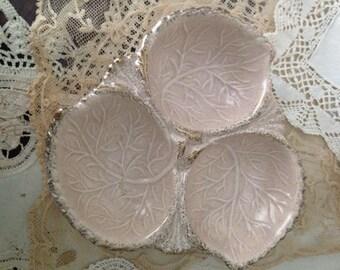 Californai Pottery Leaf Patterned Condiment Server