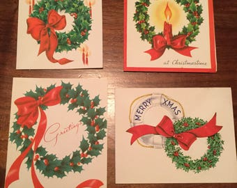 Lot of 4 Vintage Christmas Cards featuring Wreaths