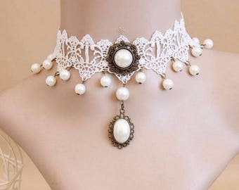 Elegant white Gothic Locket necklace, pearls and lace