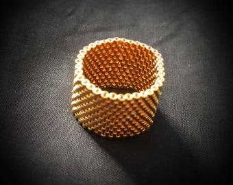 24k gold plated handmade bead ring