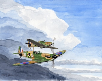 Spitfire painting with Hurricane 8x10 watercolor